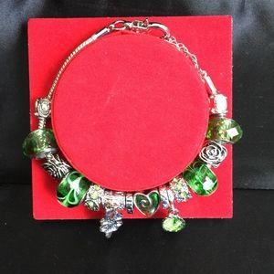 Glam & Glow Emerald Beaded Charm Bracelet - New